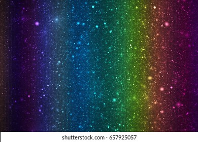 Abstract glittering texture with sparkles on black background. Rainbow gradient. Fantasy fractal design. Digital art. 3D rendering.