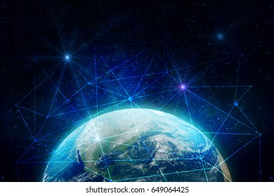 Abstract globe with digital connections. Communication concept. Elements of this image furnished by NASA