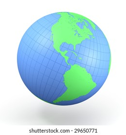 Abstract globe with green continents