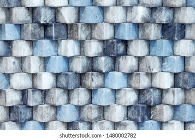 Abstract of gloomy blue wooden cube texture background.