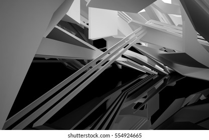 Abstract glossy black interior with white sculpture.. Architectural background. 3D illustration and rendering