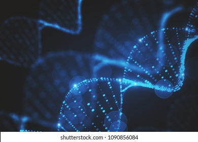 Abstract glowing blurry blue DNA texture. 3D Rendering