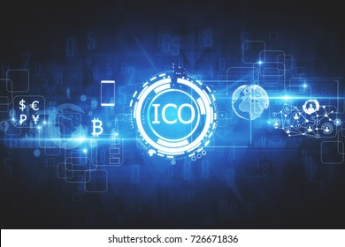 Abstract glowing digital currency button ICO initial coin offering on virtual digital electronic user interface. Investment concept. 3D Rendering