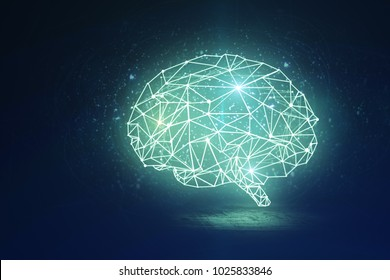 Abstract glowing polygonal brain on dark background. Artificial intelligence and data concept. 3D Rendering
