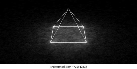 Abstract glowing pyramid. Top view. 3D Render