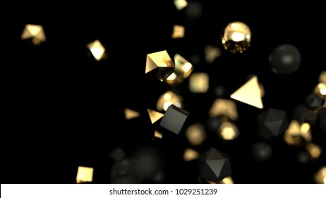 Abstract gold and black particles, 3d illustration
