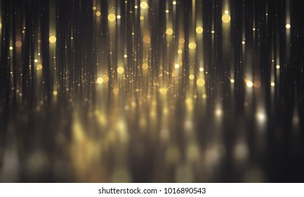 Abstract gold bokeh circles on a black background. Spectacular illustration with particles and rays.