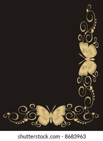 Abstract gold butterfly frame on black background