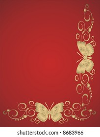 Abstract gold butterfly frame on red background