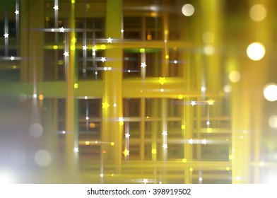 Abstract gold fractal background with various color lines and strips