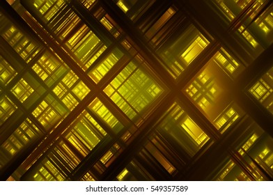 Abstract gold fractal background with various color lines and strips. illustration technology.