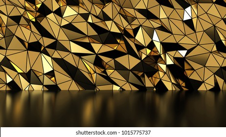 Abstract Gold polygonal wall and reflection, low-poly background, 3d illustration