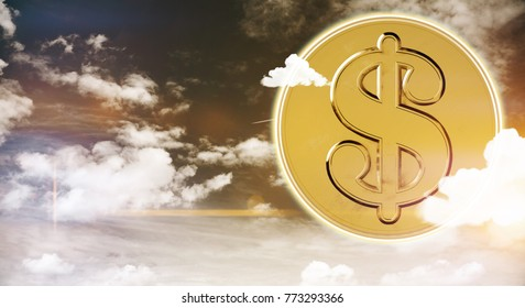 Abstract golden bitcoin on sky background with clouds. Wealth and rich concept. 3D Rendering