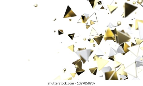 Abstract golden chaos particles on white background, 3d illustration