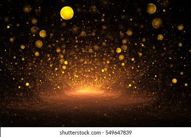 Abstract golden drops on black background. Fantasy fractal art. 3D rendering.