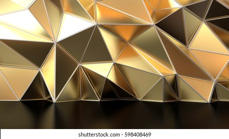 Abstract golden geometric triangular low poly background with line. 3d rendering