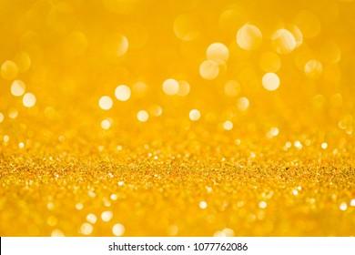Abstract Golden glitter bokeh for background