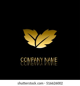 Ecology theme business card images stock photos vectors abstract golden leaves signsymbol design element can be used for corporate identity reheart Images