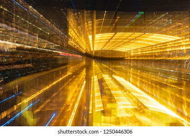 Abstract golden light with zoom into the night city background