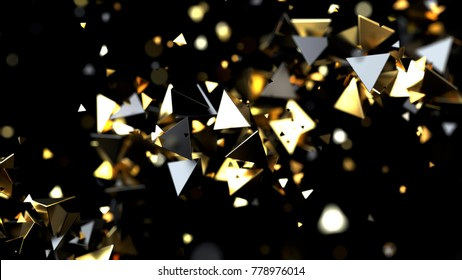 Abstract golden triangle particles isolated on black, 3d illustration