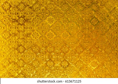 Abstract Golden, window glass Thai style