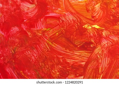 An abstract gouache painting. Red grunge brush strokes gouache paint. Colorful textured background.