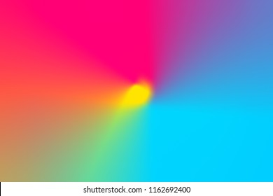 Abstract gradient blurred multicolored rainbow light spectrum radial background. Radial concentric pattern. Vivid neon Colors. Multifunctional fashion holiday arts kids education school backdrop