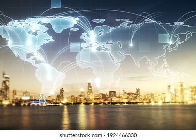 Abstract graphic digital world map hologram with connections on Chicago cityscape background, globalization concept. Multiexposure