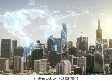Abstract graphic digital world map hologram with connections on San Francisco cityscape background, globalization concept. Multiexposure