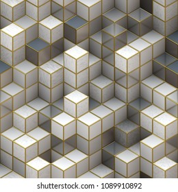 Abstract gray cubes seamless pattern background, 3d effect.