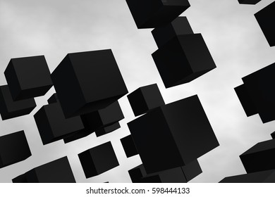 Abstract gray cubes in space. The geometric shape. 3D abstraction.