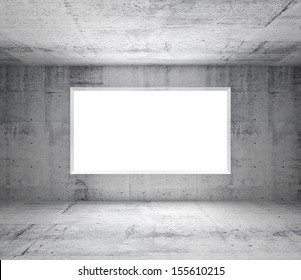 Abstract gray interior of empty room with concrete walls and white window