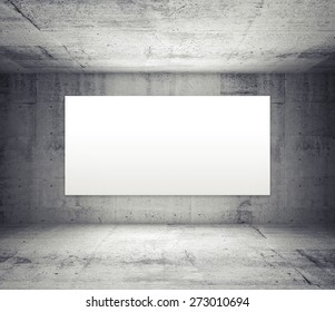 Abstract gray interior of empty room with concrete walls and illuminated wide white screen