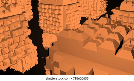 Abstract greeble cubes surface on black background. 3d rendering.