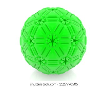 Abstract green ball on white.3d illustration