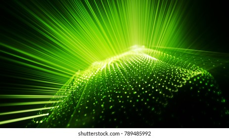 Abstract green and black background. Fractal graphics series. Three-dimensional composition of bokeh blured grids and light beams.