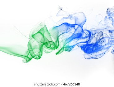 Abstract green and blue smoke isolated on white background