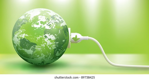 abstract green energy concept with green Earth and plug