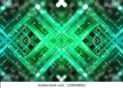 Abstract green fractal background with various color lines and strips. elegant illustration