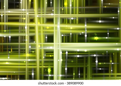 Abstract green fractal background with various color lines and strips