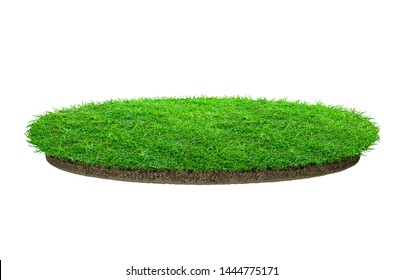 Abstract green grass texture for background. Circle green grass pattern isolated on a white background with clipping path.