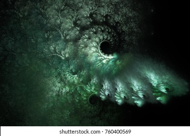 Abstract green swirly shapes on black background. Fantasy space fractal texture. 3D rendering.