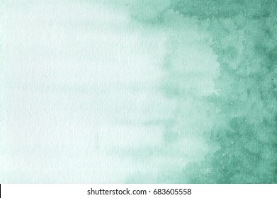 Abstract Green Watercolor art hand paint background. Watercolor stains.