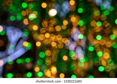 Abstract green and yellow holiday blurs