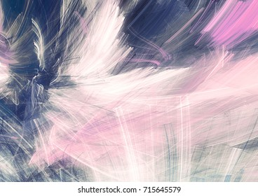 Abstract grey, blue and pink soft color motion composition. Modern bright futuristic painting background with lighting effect. Shiny dynamic pattern. Fractal art for creative graphic design