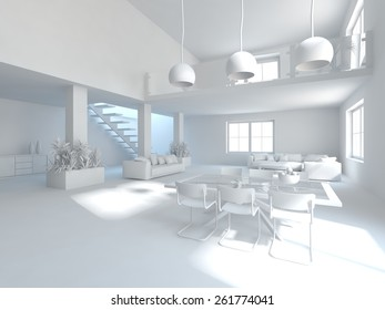 abstract grey interior design-3D rendering