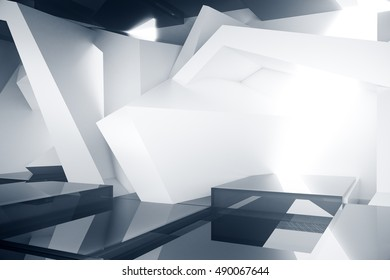 Abstract grey room interior with creative pattern. 3D Rendering