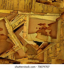 abstract grunge background with old archive, letters and photos