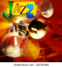 Abstract grunge background with trumpets and word jazz