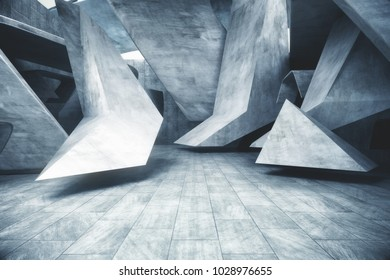 Abstract grunge concrete room. Style and design concept. 3D Rendering